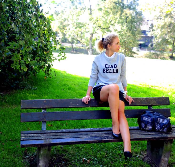sweatshirt leather fashion mango blog style im herbst