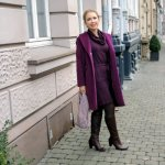 Purple Look with Coat and Knit Dress Outfit Loop Scarf Fashionblog