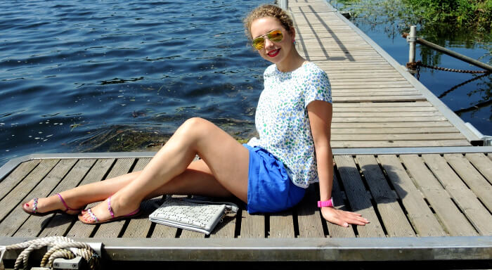 Outfit: Blue Shorts and new Zara Blouse for a trip to the Lake, Kationette, Fashionblog, Style, Streetstyle