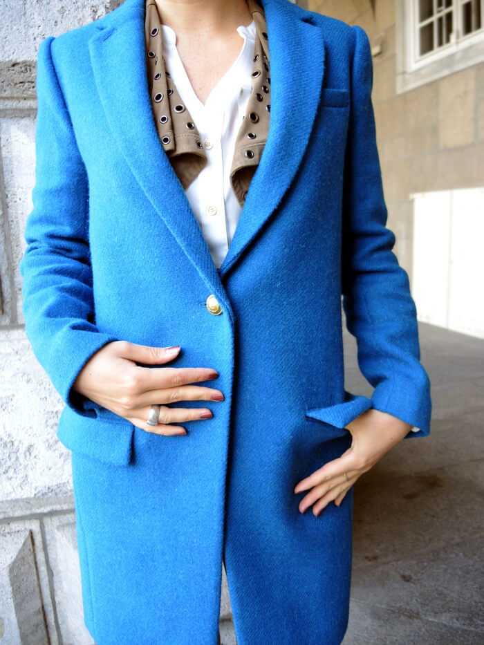 Outfit: Petrol Wool Coat with golden buttons from J.Crew, Kationette, Style, Streetstyle, Fashionblog, Modeblog