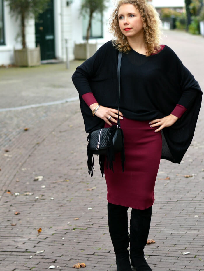 Outfit: Red Skinny Dress, Wide Shirt and Suede Overknees, Kationette, Fashionblog, Modeblog, Look, Style, Streetstyle