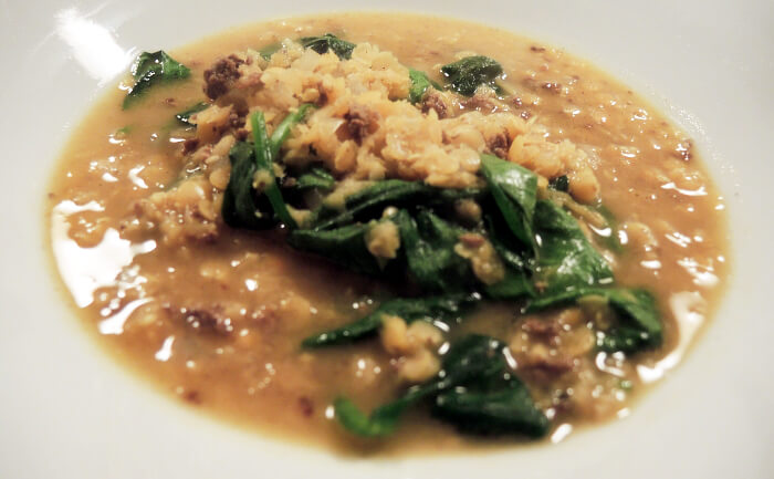 Recipe: Red Lentil soup with mincemeat and spinach, veggie, rezept, kationette, foodblog, linsensuppe