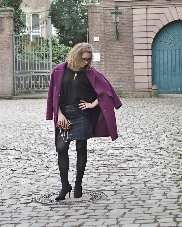 Outfit: Purple Coat, Denim Skirt and Leo Box Bag, Kationette, Fashionblog, Modeblog, Streetstyle, lotd, ootd