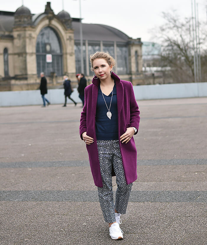 Outfit: Patterned Pants, Reebok Classics and Purple Coat