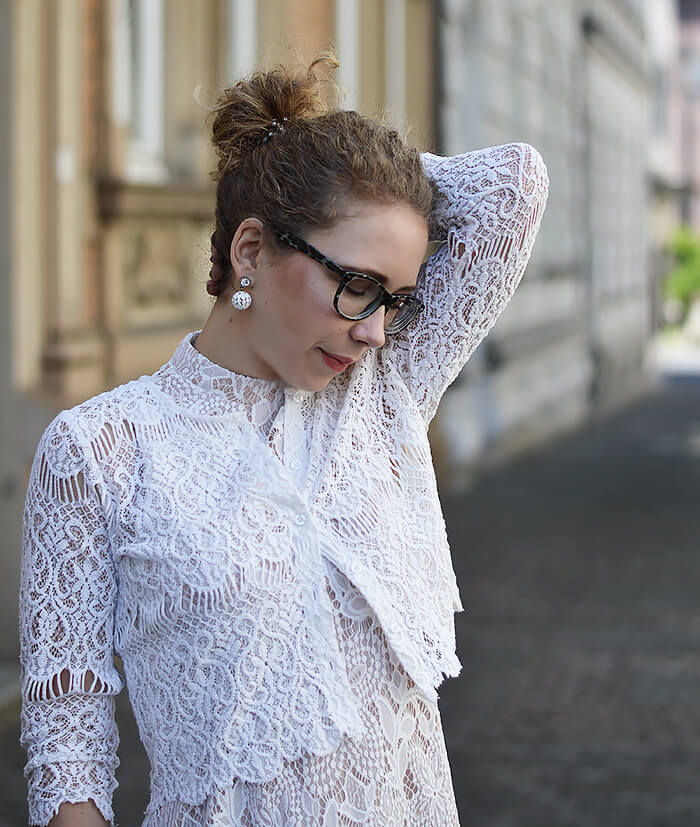 Outfit: White Boho Lace Dress, Bolero and Espadrilles