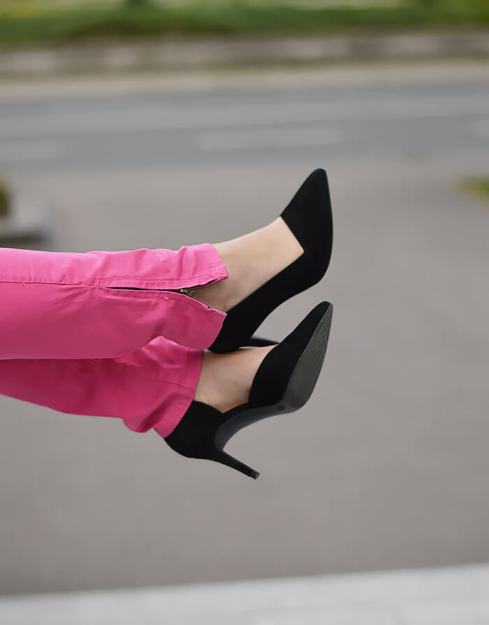 Outfit: Pink Pants and Black