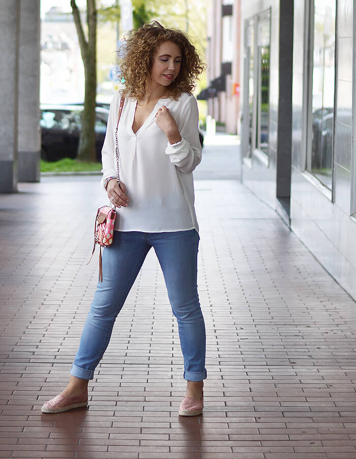 Outfit: Rebecca Minkoff, Light Blue Jeans, White Blouse & Espadrilles