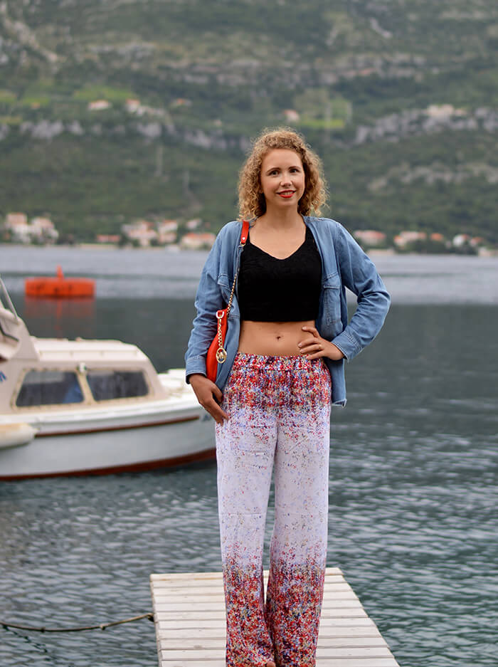 kationette-fashionblogOutfit-Palazzo-Pants-Bustier-Top-Denim-Michael-Kors-croatia-korcula