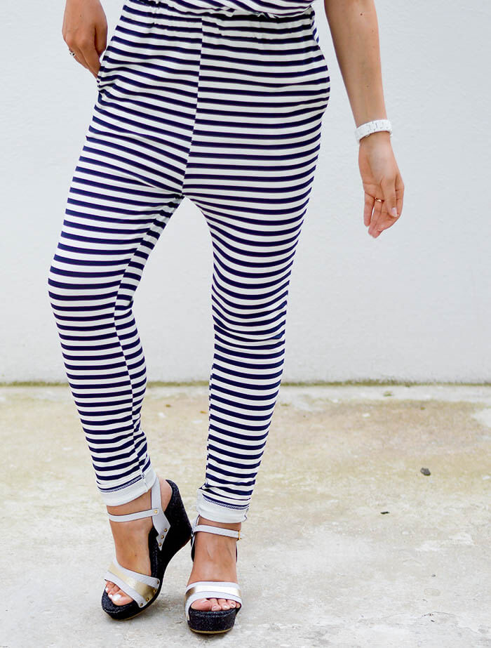 Kationette Outfit: Striped Jumpsuit with dropped armhole and Wedge Sandals