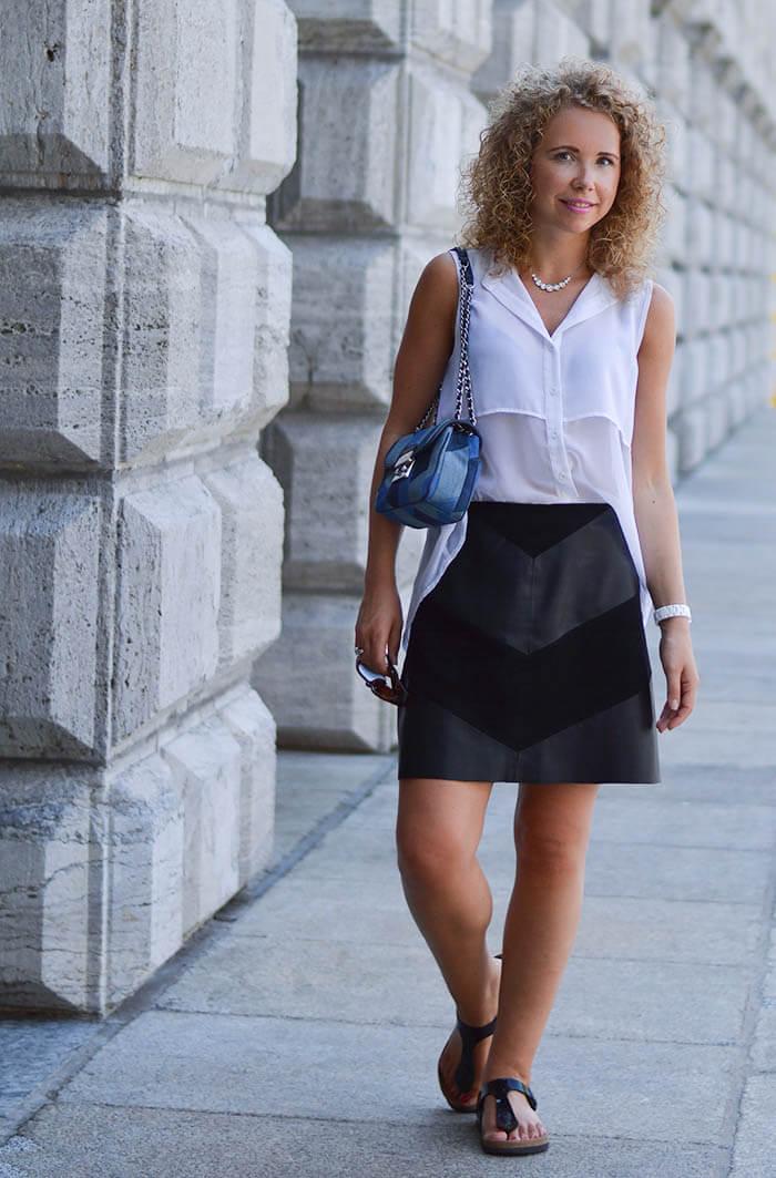Outfit: Michael Kors Patchwork Sloan, Fake Leather Skirt from Zara and Birkenstock Sandals