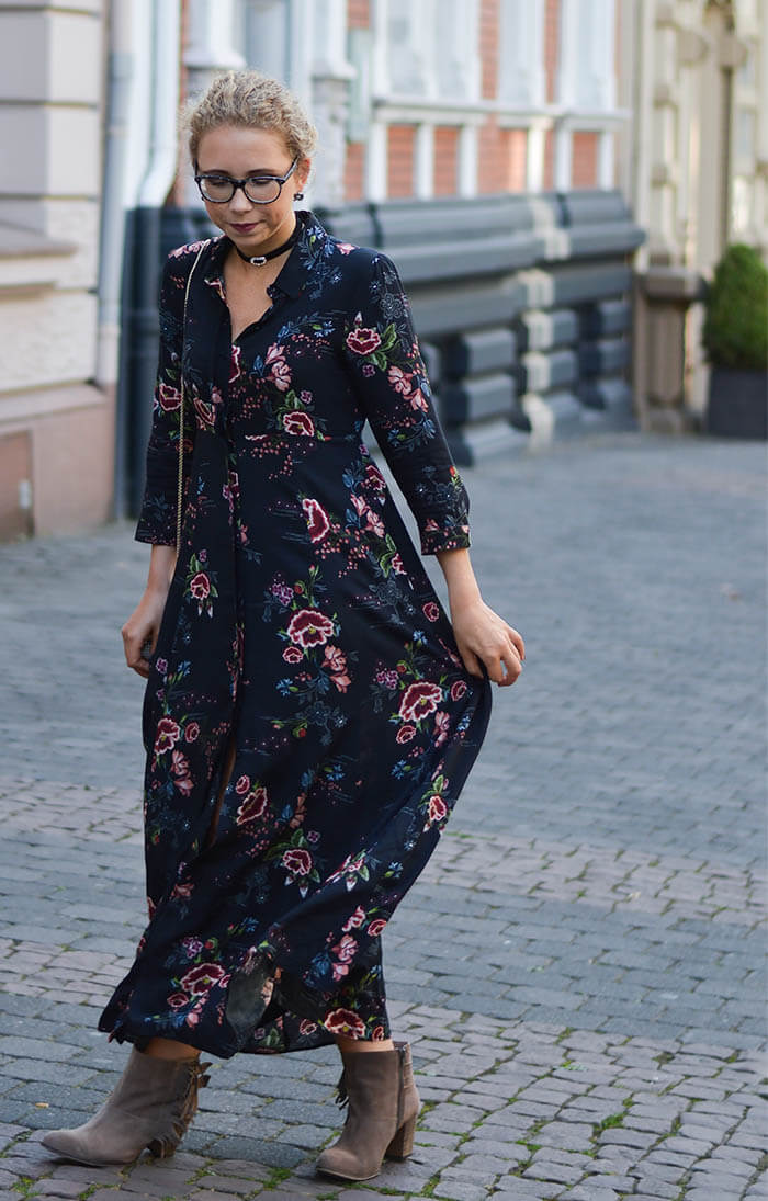 outfit floral maxi dress from zara choker and furla kationette. Black Bedroom Furniture Sets. Home Design Ideas