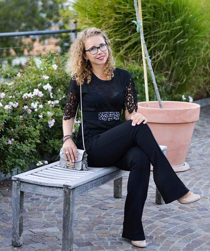 Outfit: Classy Allblack with Flared Pants, Furla, Lace & Waist Belt