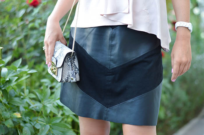 Outfit: Zara Blush Top and Leather Skirt with Furla & Pumps