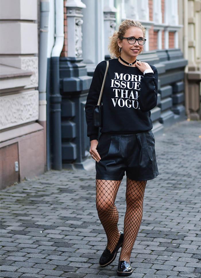 Outfit: Statement Sweater, Leather Shorts, Fishnet Stockings and Patent Loafer