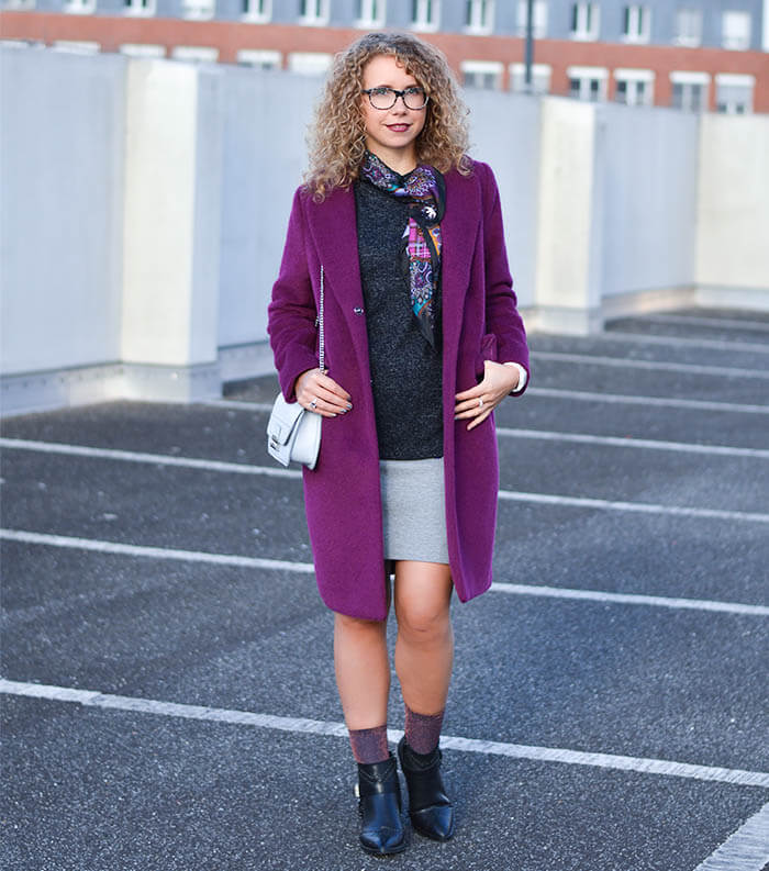 Outfit: Glitter Socks in Ankle Booties, Silk Scarf and Berry Coat