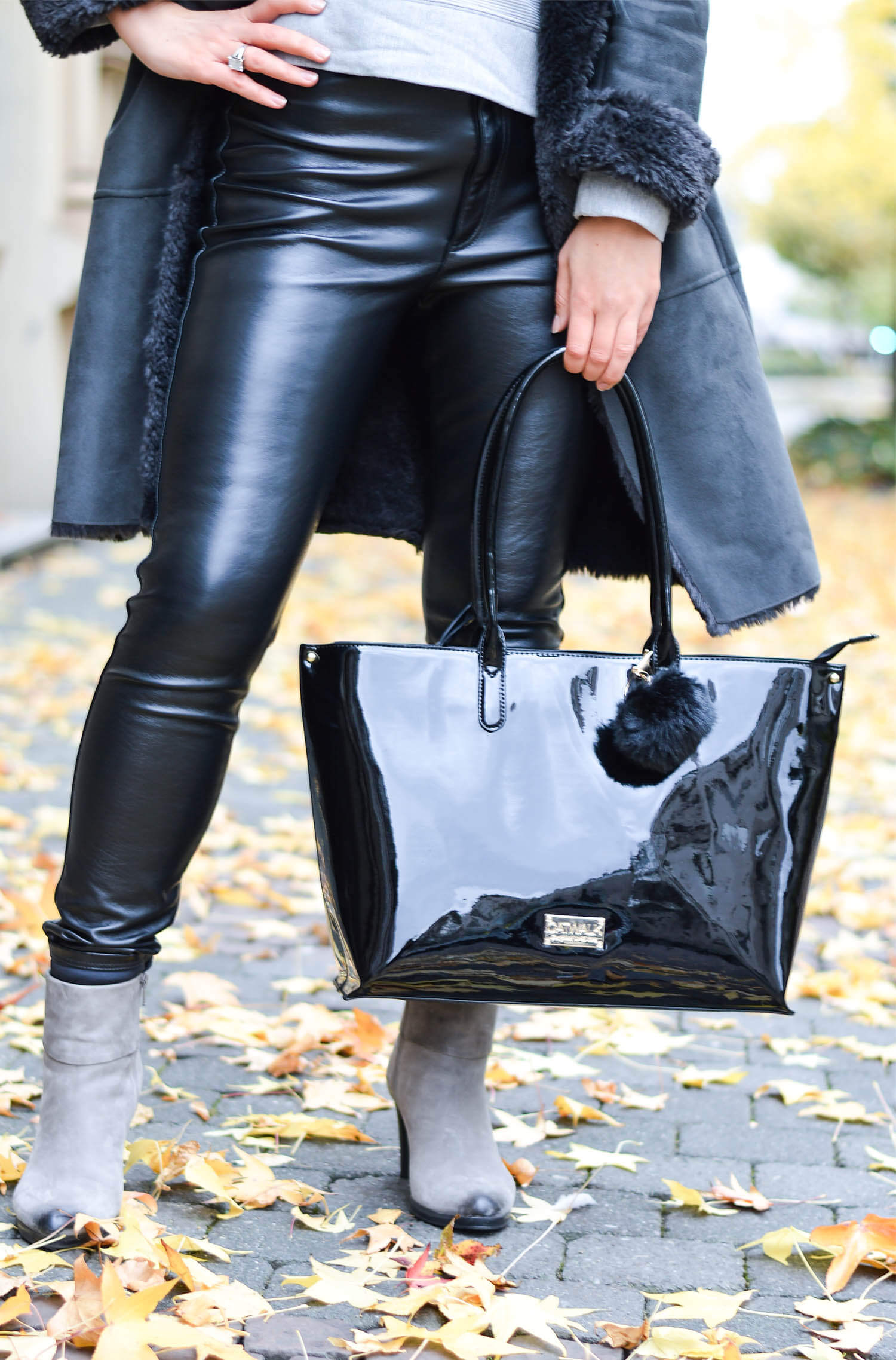 Outfit: Shearling Coat, Leather Pants and Patent Bag