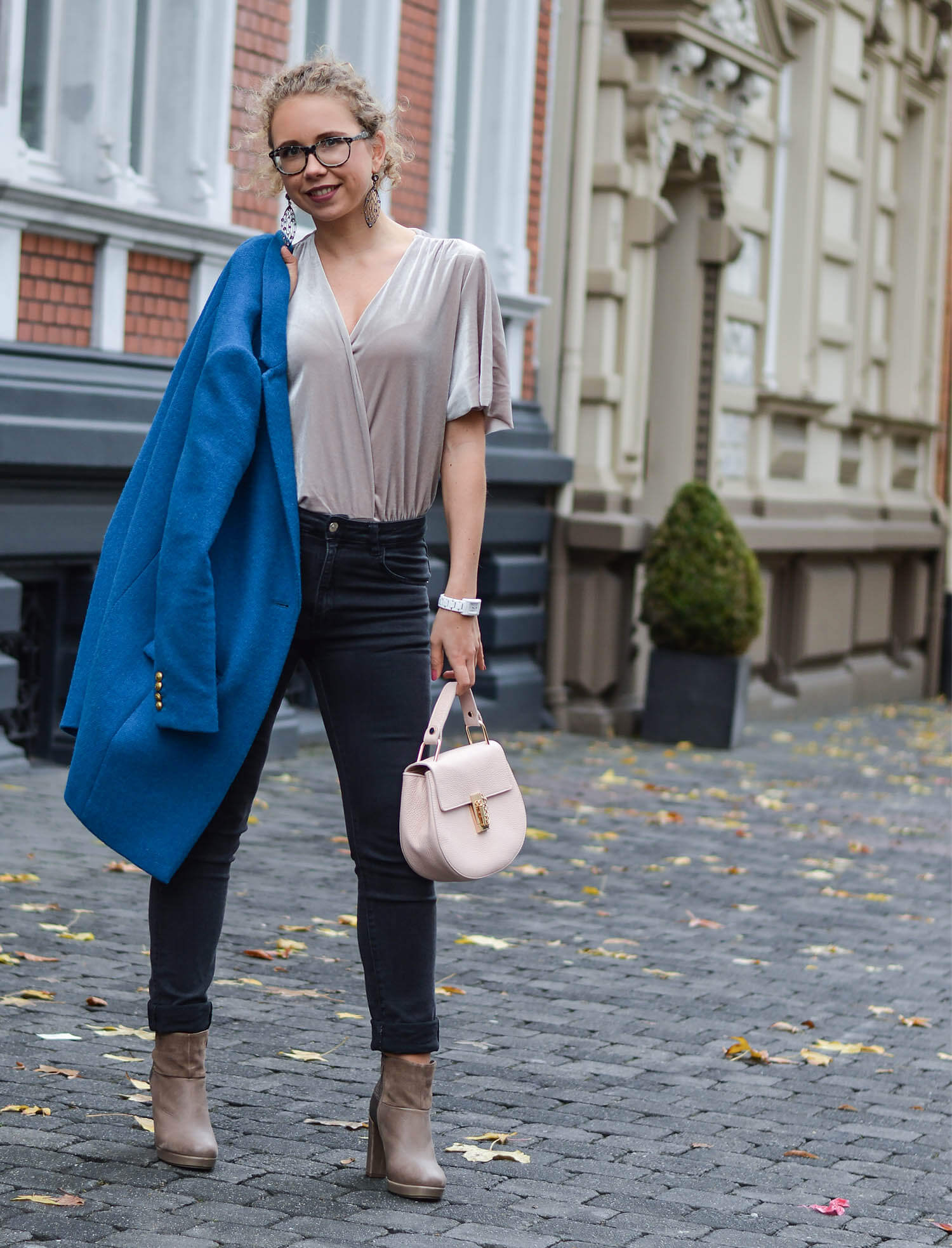 Outfit: New Booties, Zara Velvet Bodysuit and Blue Coat from J.Crew