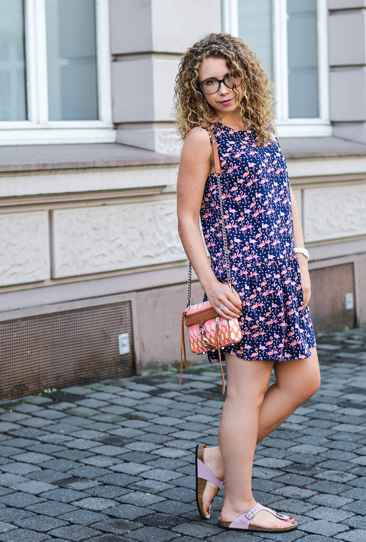 kationette-fashionblog-nrw-Outfit-Flamingo-Dress-Rebecca-Minkoff-Bag-Birkenstock