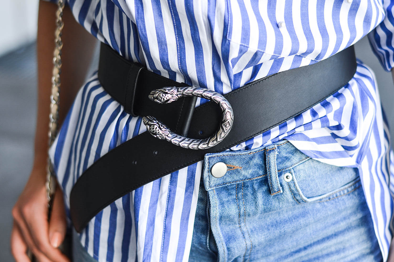 Marionette-fashionblog-nrw-Outfit-Gucci-Belt-Zara-Blouse-Pearls-Denim-Shorts-streetstyle