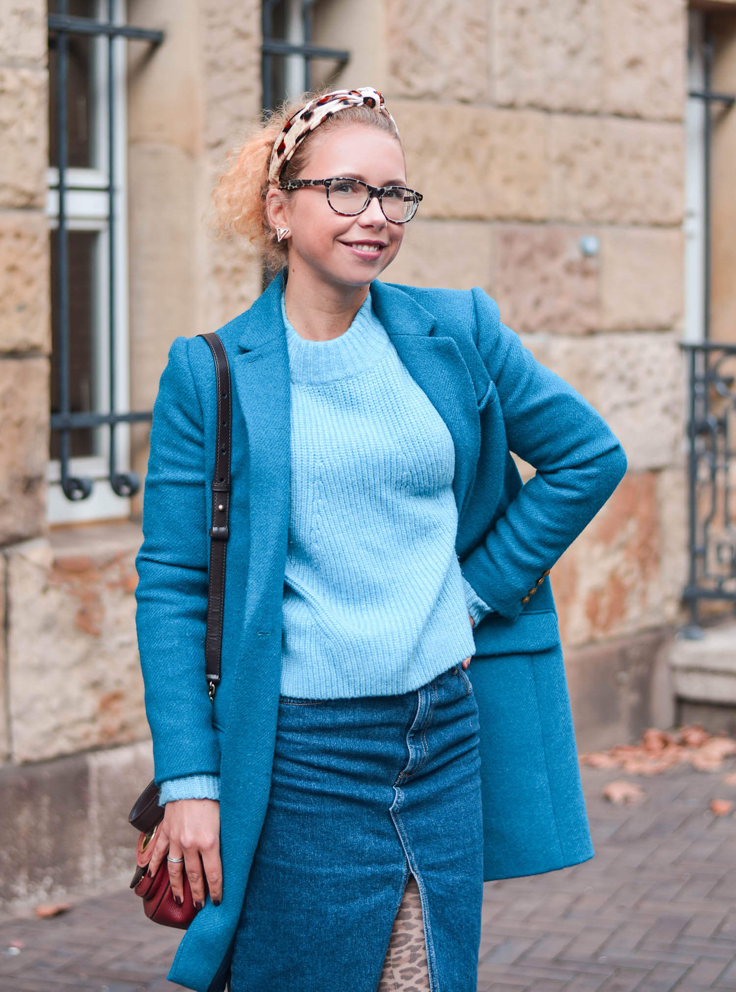 Petrol-Blue-meets-Leo-Print-Wool-Coat-Knit-Denim Skirt-Kationette-Winter-Outfit-Fashionblogger-Germany