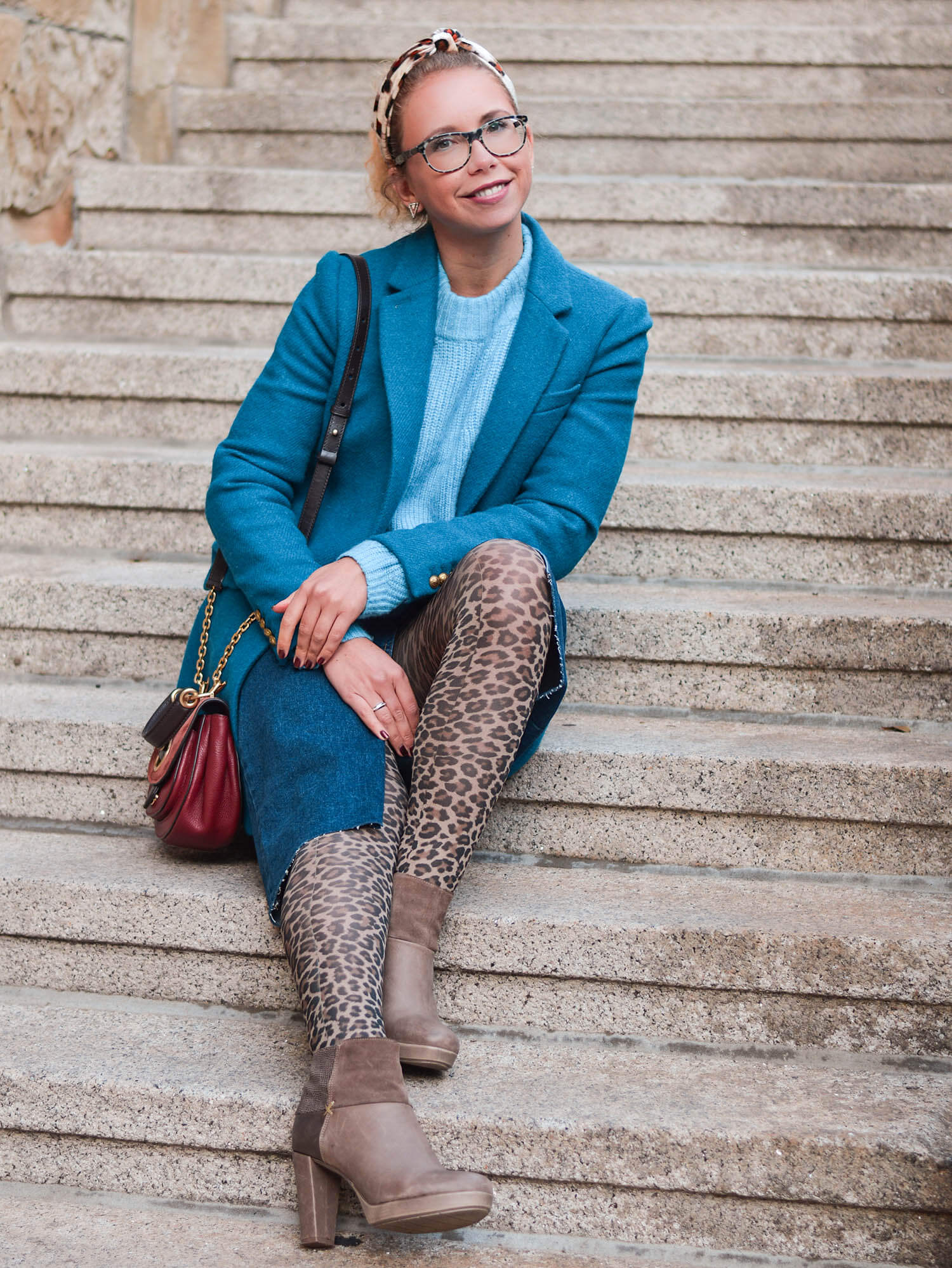 Petrol-Blue-meets-Leo-Print-Wool-Coat-Knit-Denim Skirt-Kationette-Winter-Outfit-Fashionblogger-Germany