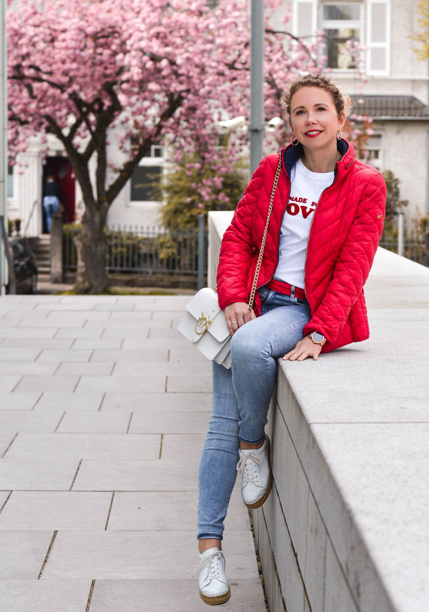 denim outfit mit Steppjacke