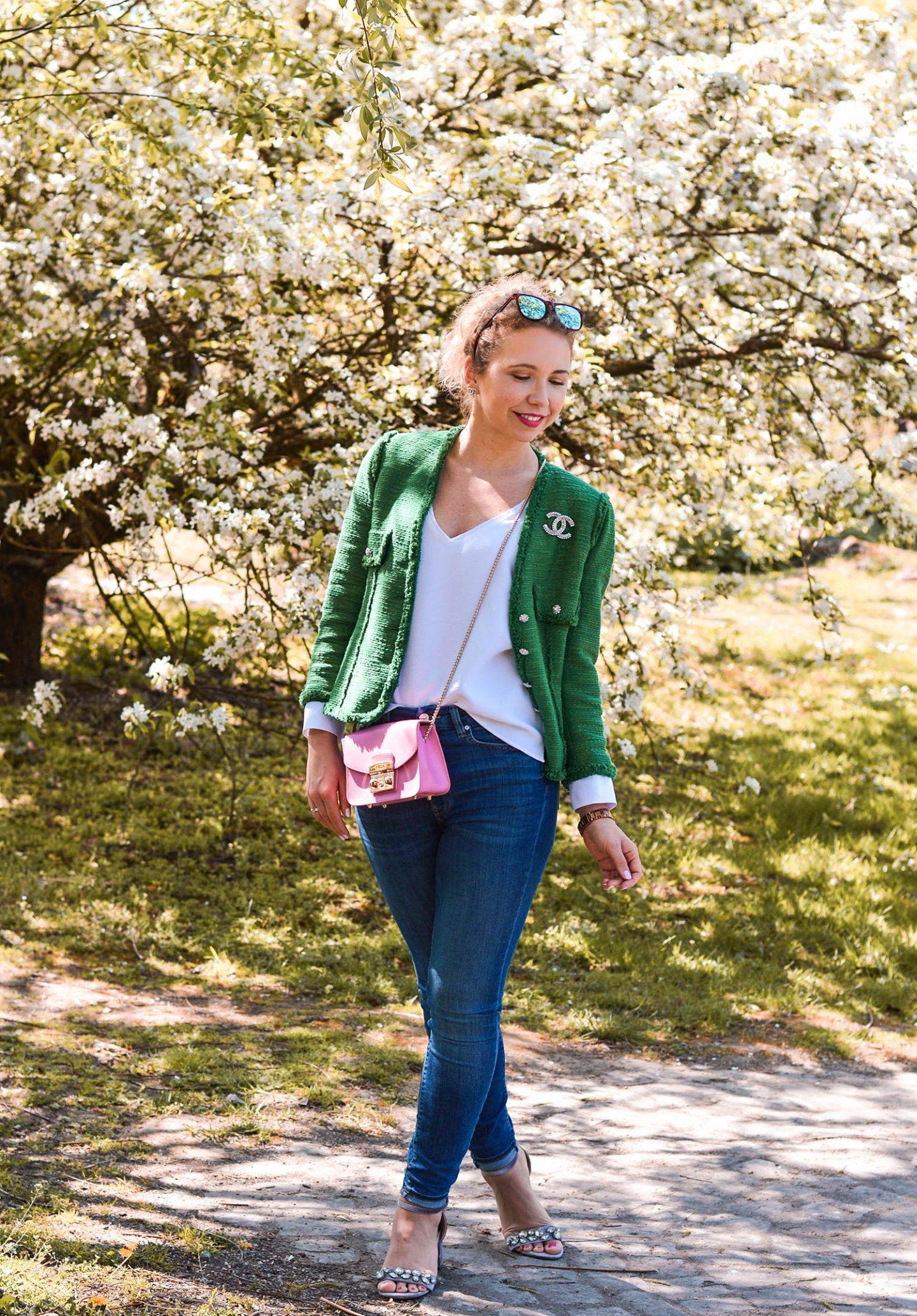 Zara tweedjacke casual kombinieren