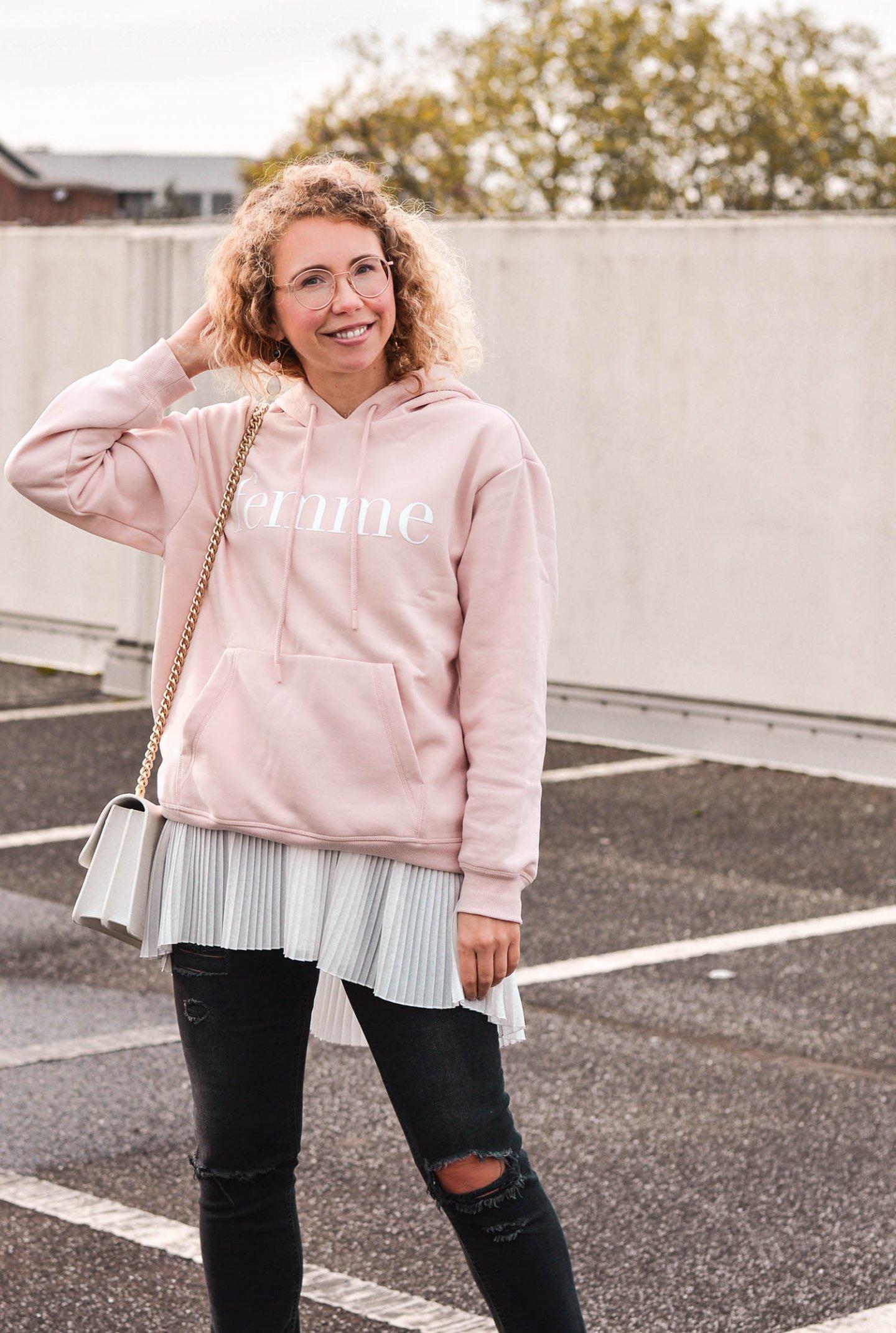 lagenlook mit hoodie und Plissee bluse
