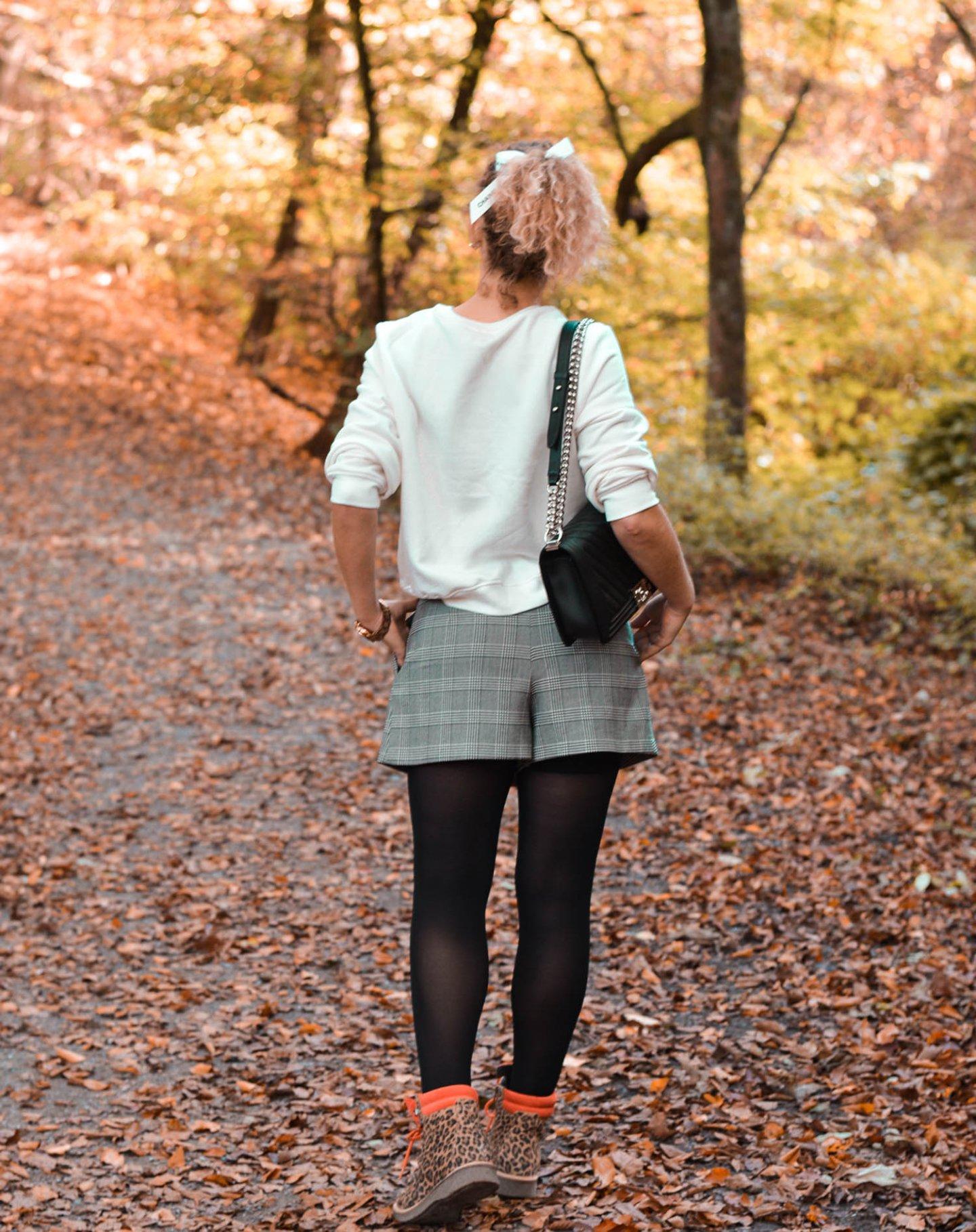 Herbstlook mit skorts und Chanel