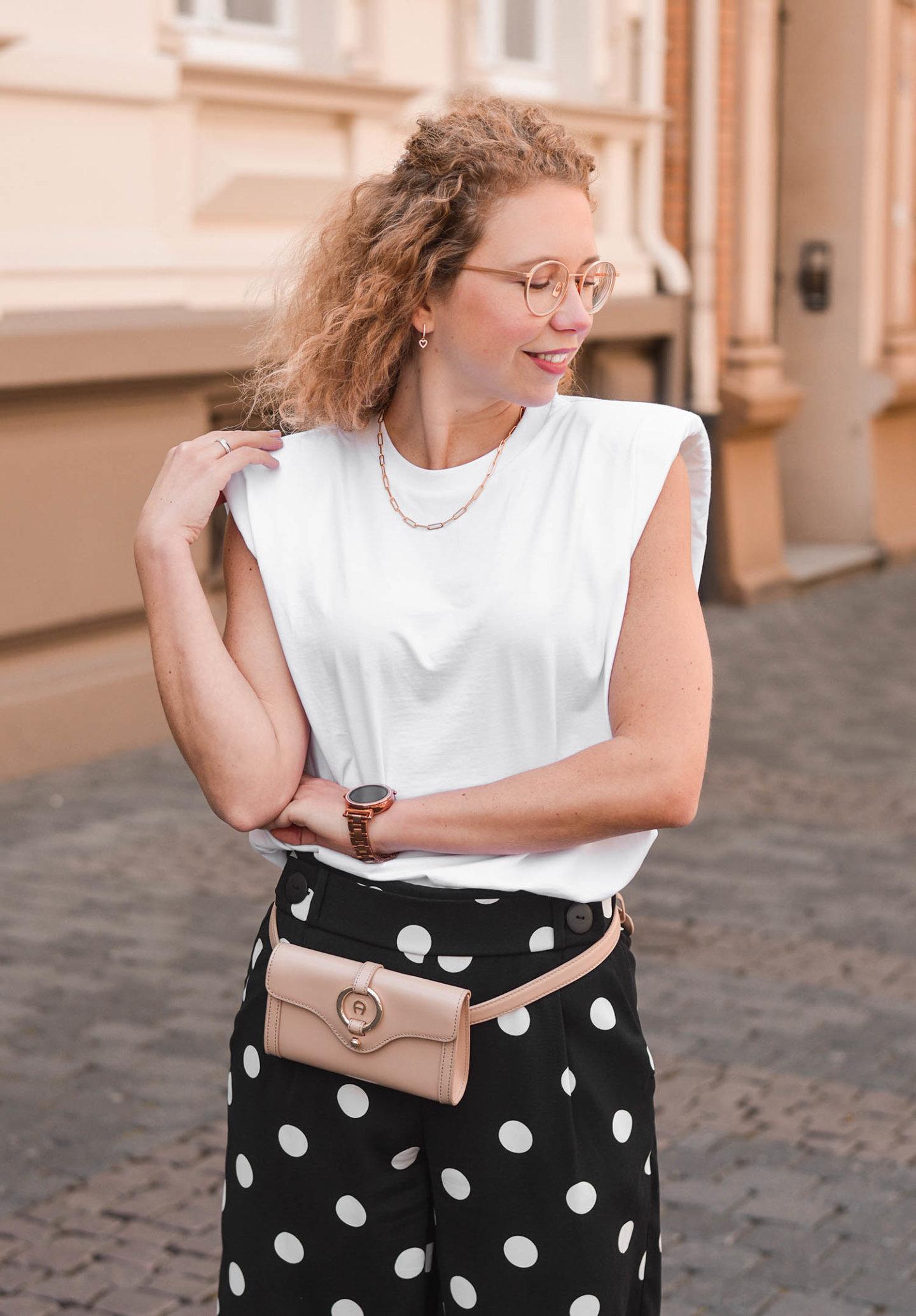 blogger style mit schulterpolster-shirt