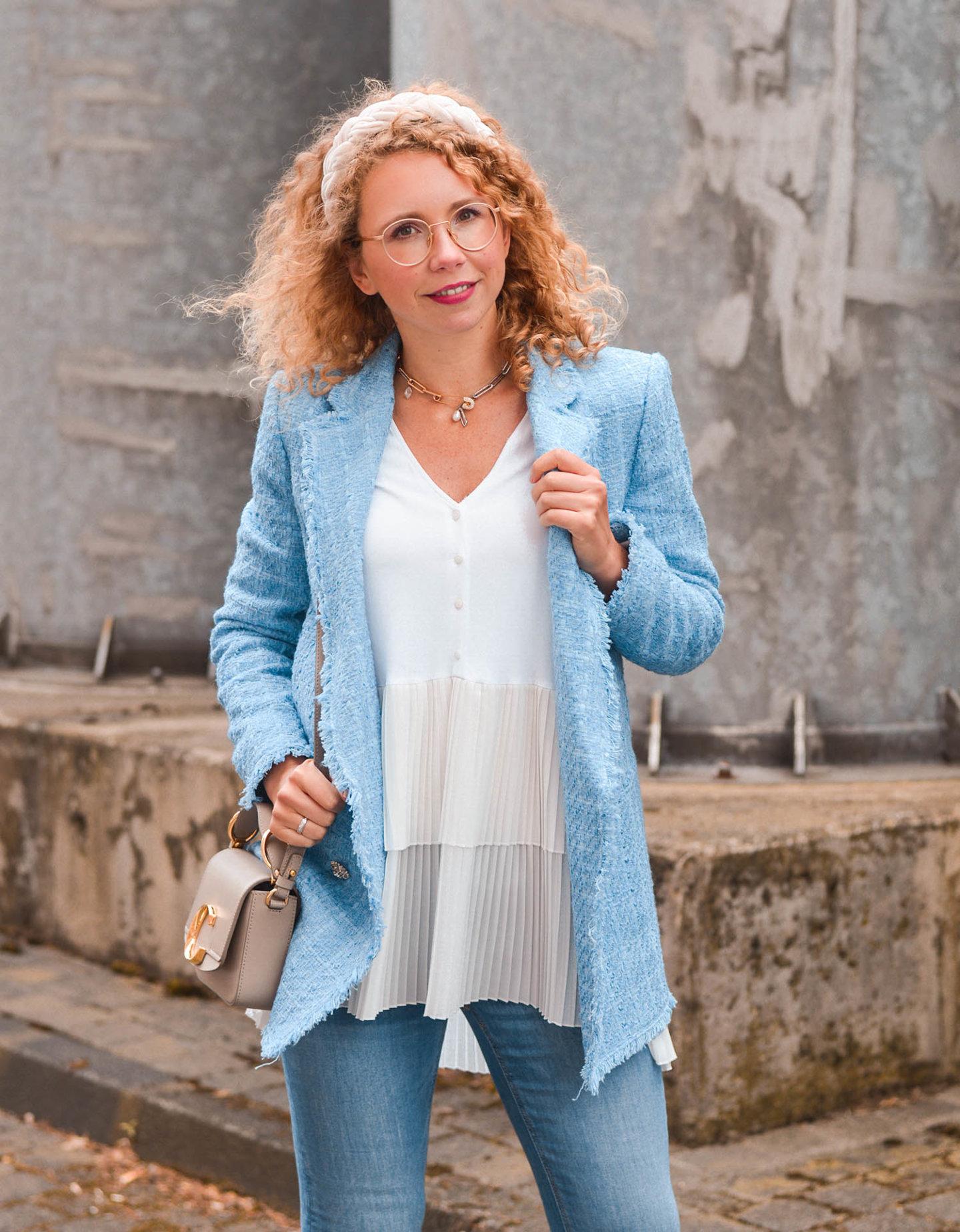 tweed-blazer, longbluse und chloé c-bag