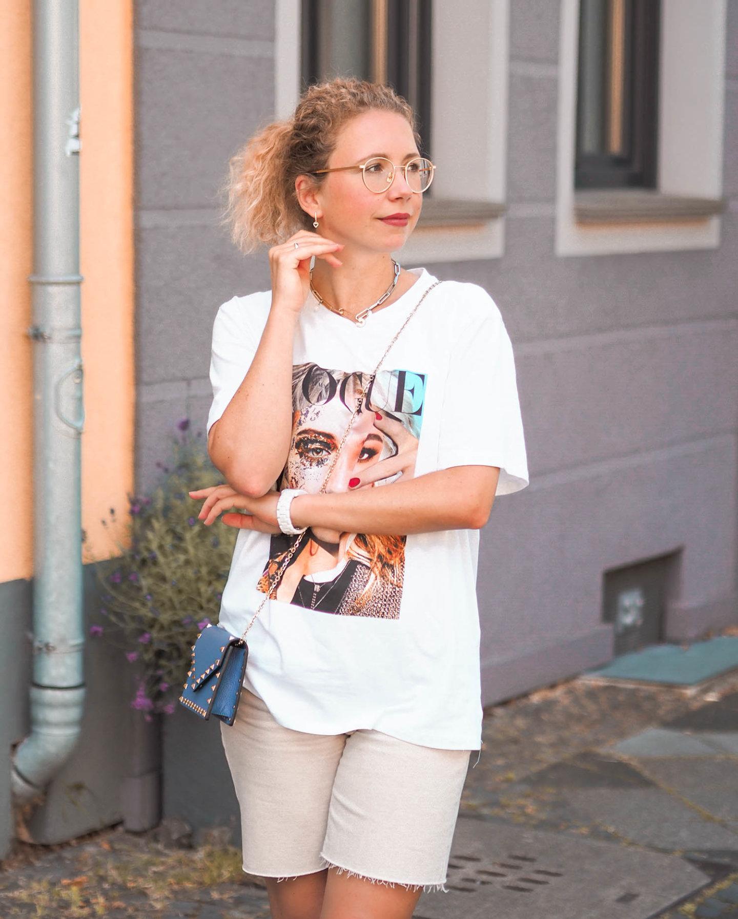 VOGUE Italy T-Shirt mit Magazin-Print
