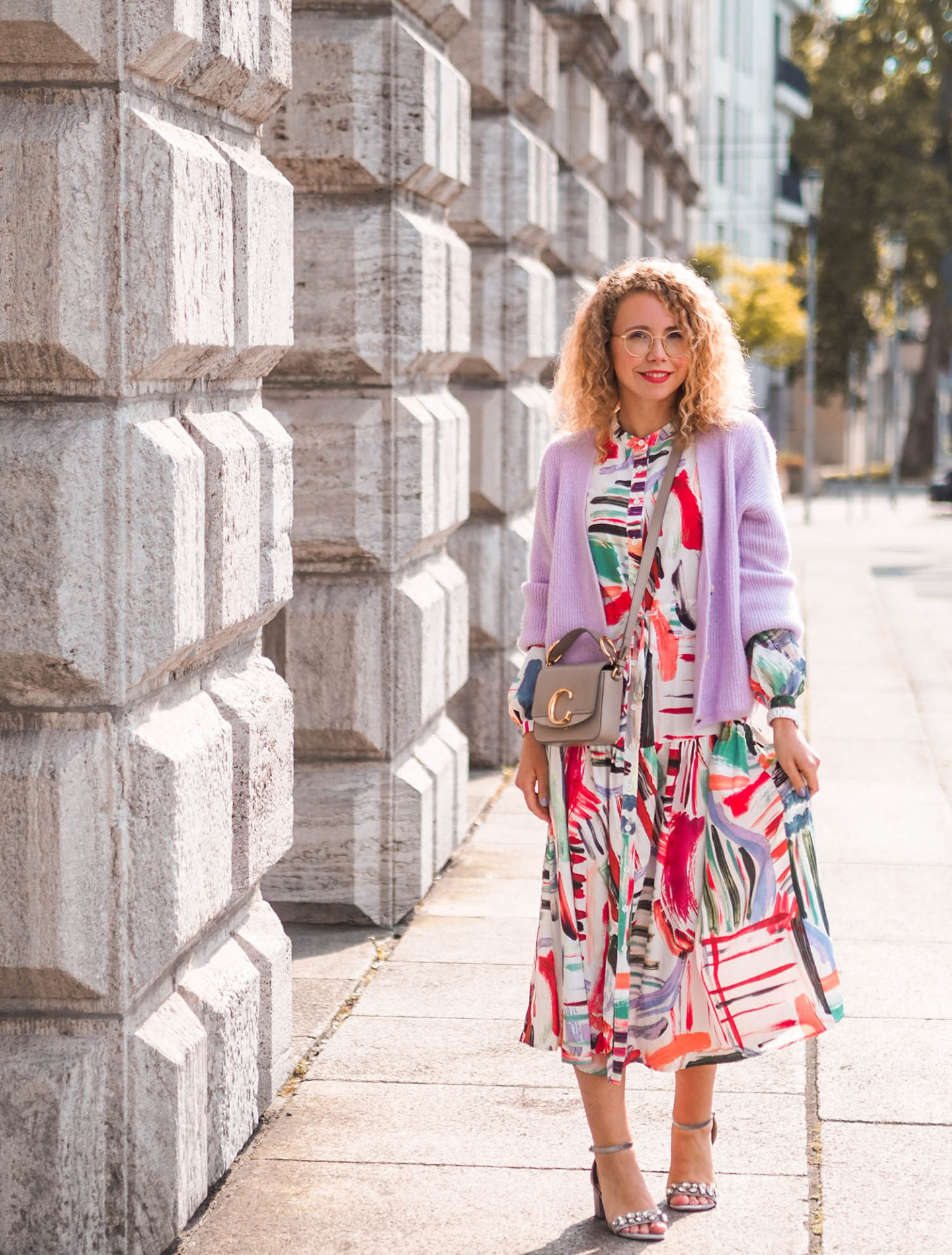 printed midi dress, cardigan und chloé