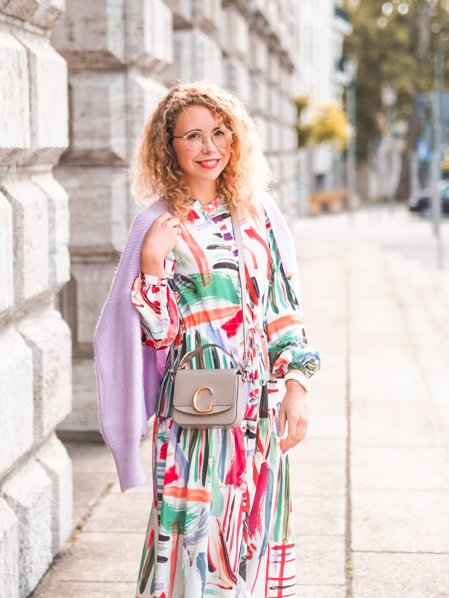 glamorous midi dress, chloé c-bag und cardigan