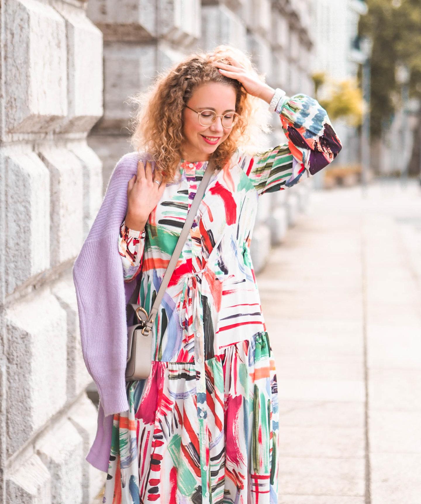 printed midi dress, cardigan, chloé bag